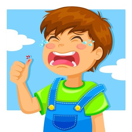 menino chorando por causa de um corte em seu dedo polegar Ilustração