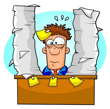 paniek: werknemer overweldigd door veel papierwerk Stock Illustratie