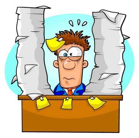 overwhelmed: worker overwhelmed by lots of paperwork Illustration