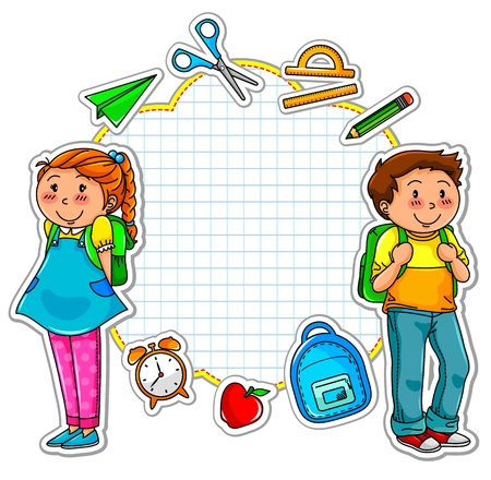 cartoon math: school kids and a set of school related items