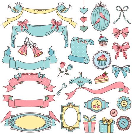 flower clip art: collection of vintage style design elements Illustration