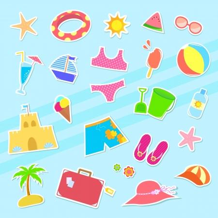 enfant maillot de bain: Collection d'icônes d'été