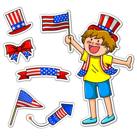 boy celebrating 4th of july, plus matching icons Vector