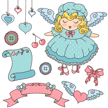 lolita: set of cute vintage elements Illustration