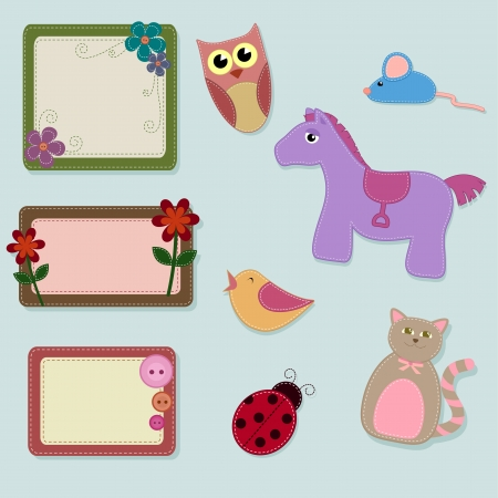 embroidery on fabric: toy animals and decorated frames Illustration
