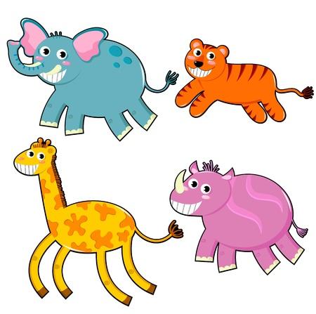 caricaturas de animales: Conjunto de animales felices de la historieta Vectores