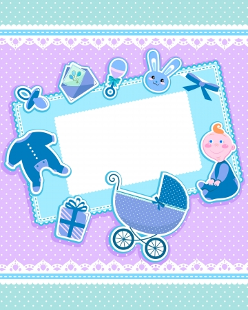 baby stickers: cute card with baby items