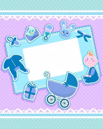 sonajero: tarjeta linda con art�culos de beb�