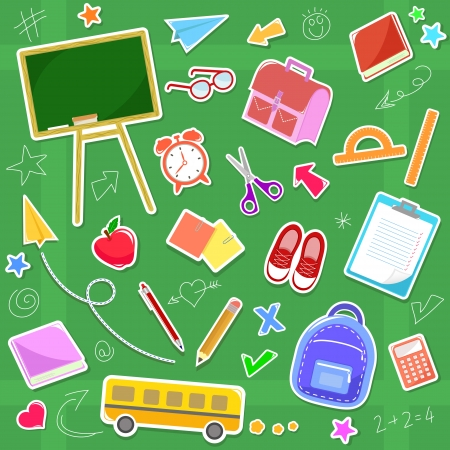 collection of fun school icons Vector