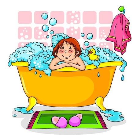 happy kid in a bath full of foam Stock Vector - 16511030