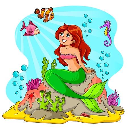 folktale: sirena sentada en una roca con los peces a su alrededor Vectores