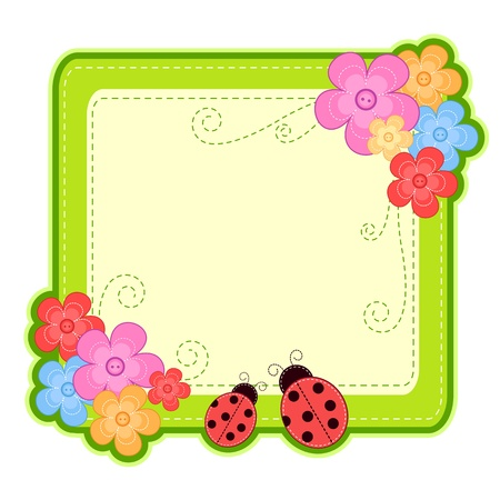 flower boxes: frame with flowers and ladybugs