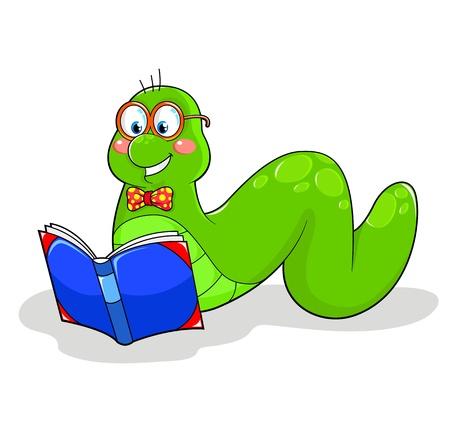 bücherwurm: freundliche B�cherwurm liest ein Buch