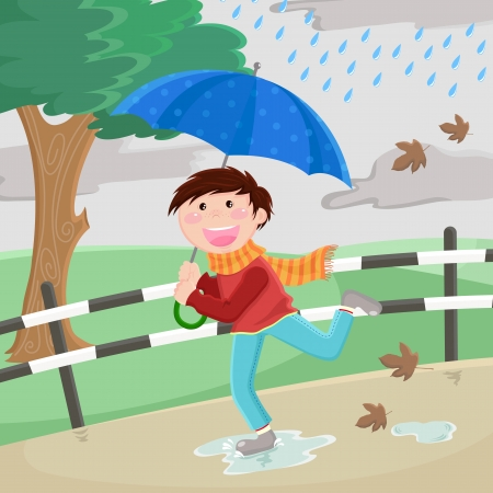 rain cartoon: boy with umbrella running happily in the rain Illustration