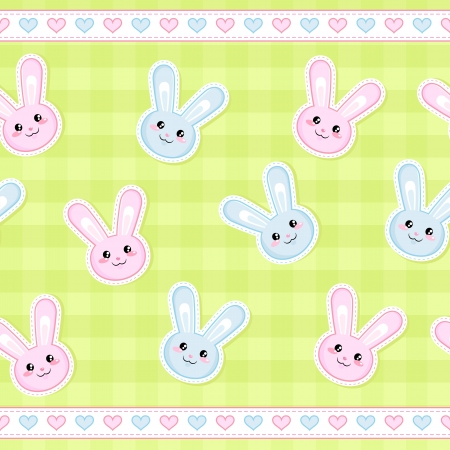 seamless strip pattern with cute bunnies Vector