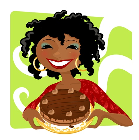 african cartoon: smiling woman holding chocolate cake