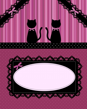 vintage card with two black cats Vector