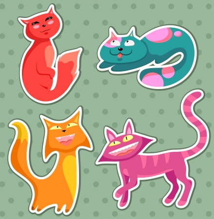 cat stretching: collection of cartoon cats