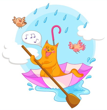cat sailing in an umbrella and singing in the rain Vector