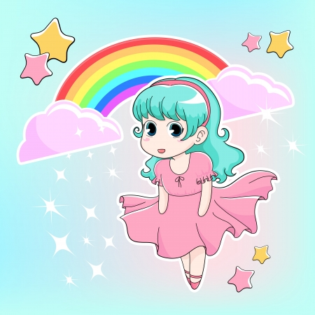 manga girl with rainbow and stars in the background Vector