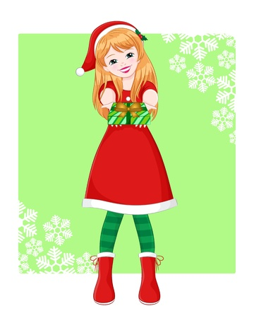 elf hat: smiling girl in christmas outfit handing over a present Illustration