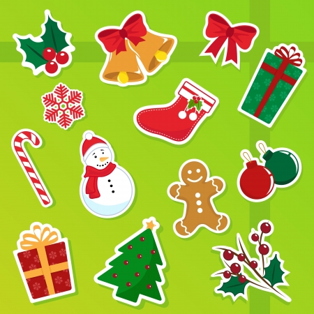items: collection of cute christmas icons