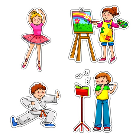 tai chi: Children in different enrichment classes practicing their hobbies Illustration