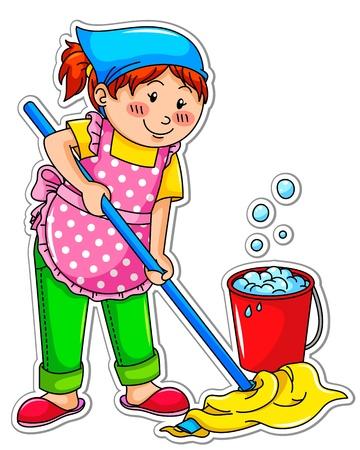 chores: gelukkig meisje het wassen van de vloer