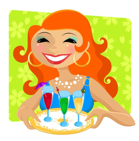 attractive woman serving colorful party drinks Stock Vector - 14395501