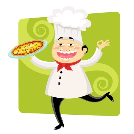 funny cartoon chef holding a plate with pizza Vector