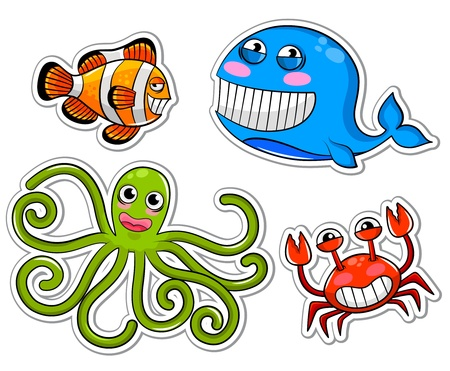 funny cartoon sea creatures Vector