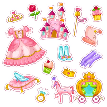cinderella shoes: collection of things related to princesses Illustration