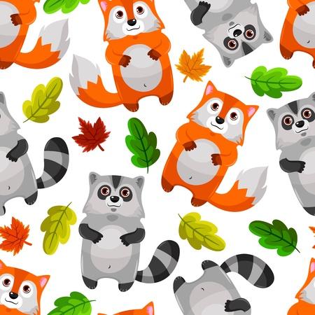 raton laveur: seamless pattern avec des ratons laveurs et les renards
