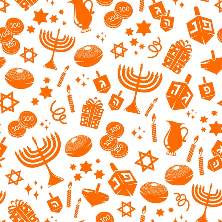 judaism: seamless pattern with Hanukkah symbols