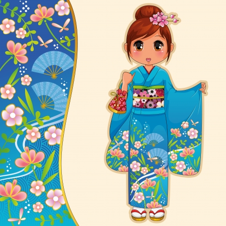 manga style: manga girl in kimono next to a patterned banner