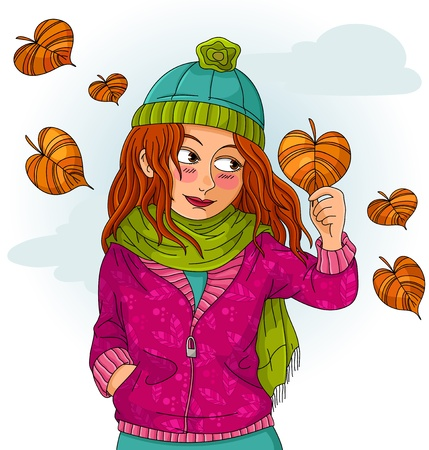fall in love: girl holding a heart shaped autumn leaf Illustration