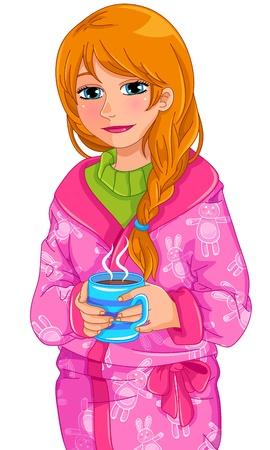 meisje in een nacht gewaad drinken warme drank