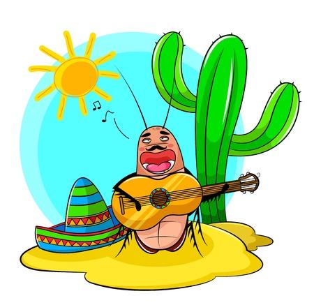 Cucaracha mexicana cantando y tocando la guitarra Foto de archivo - 16511106