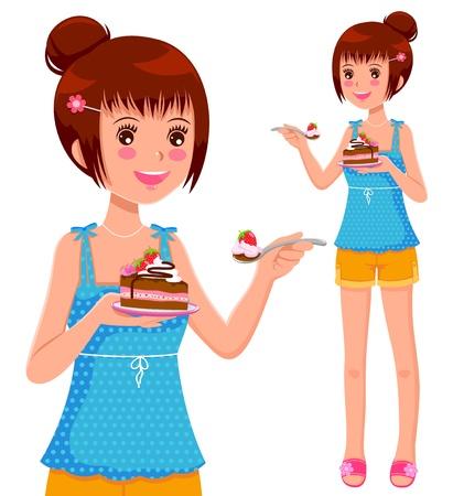 children eating fruit: girl eating cake Illustration