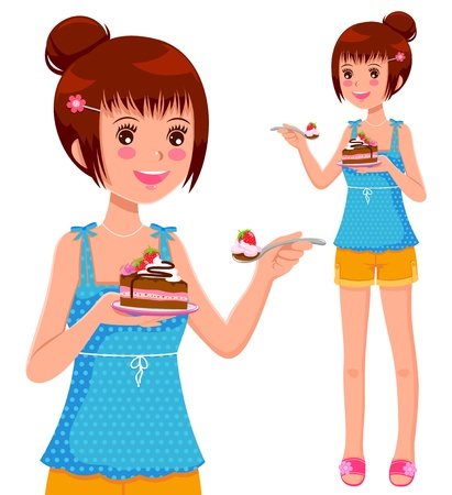 Niña comiendo pastel Foto de archivo - 16511439
