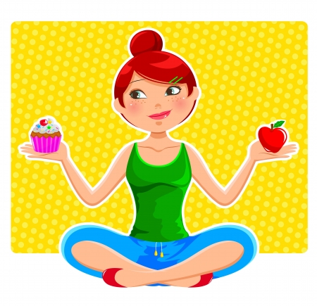 diet cartoon: girl holding apple and ccupcake