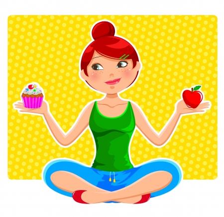 dieta sana: girl holding apple y ccupcake Vectores
