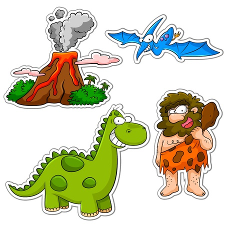dinosaurio caricatura: conjunto de dibujos animados de la época prehistórica Vectores