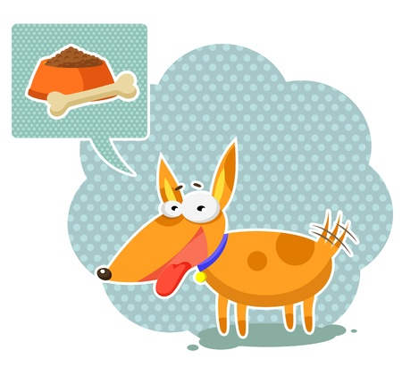Funny cartoon dog thinking about food Vector