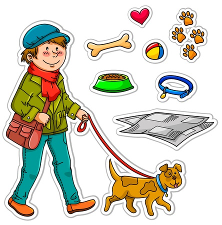 dog leash: boy walking with his dogs plus related icons