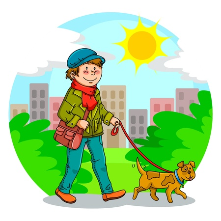 strolling: boy walking with his dog in the park Illustration