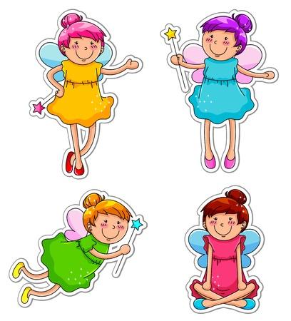 girl magic wand: set of cute fairies