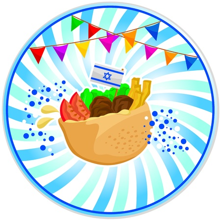 Falafel  Israeli food  with the Israeli flag and decorations for independence day Vector