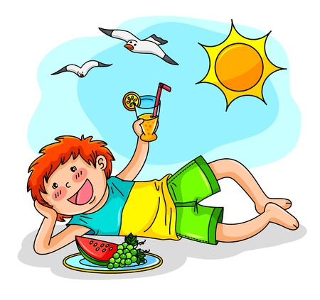 kid enjoying summer with fruit and juice Vector
