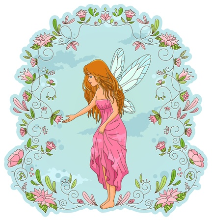 fairy standing in a frame of flowers Vector